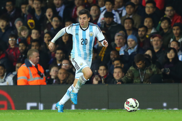 Nicolas Gaitan of Argentina during the International Friendly match against Portugal at Old Trafford, Manchester Picture by Richard Calver/Focus Images Ltd +447792 981244 18/11/2014