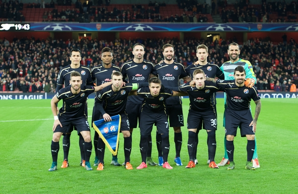 The Dinamo Zagreb team line up before during the UEFA Champions League match at the Emirates Stadium, London Picture by Alan Stanford/Focus Images Ltd +44 7915 056117 24/11/2015