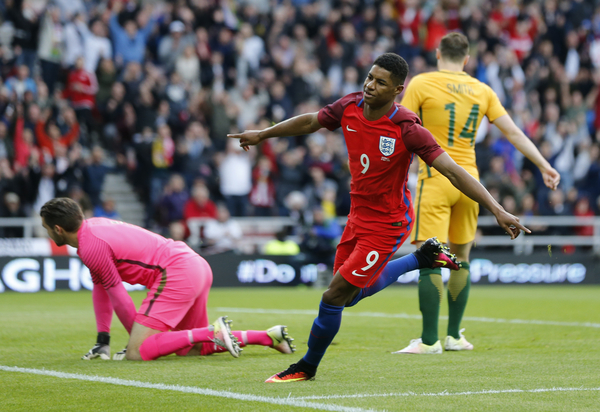 Marcus Rashford (9) of England celebrates scoring the opening goal during the International Friendly match at the Stadium Of Light, Sunderland Picture by Simon Moore/Focus Images Ltd 07807 671782 27/05/2016