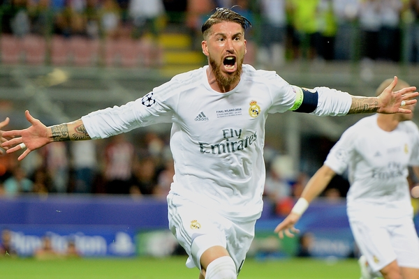 Sergio Ramos of Real Madrid celebrates scoring their first goal to make it Real Madrid 1 Atletico Madrid 0 during the UEFA Champions League Final at San Siro, Milan, Italy. Picture by Kristian Kane/Focus Images Ltd 07814482222 28/05/2016