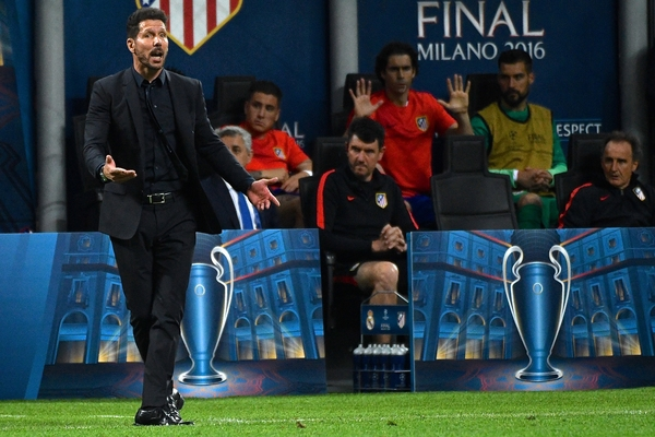 Atletico Madrid manager Diego Simeone during the UEFA Champions League Final at San Siro, Milan, Italy. Picture by Kristian Kane/Focus Images Ltd 07814482222 28/05/2016