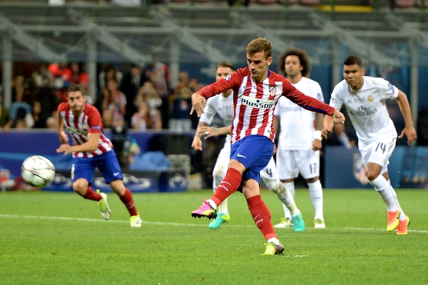 Antoine Griezmann of Atletico Madrid misses a penalty during the UEFA Champions League Final at San Siro, Milan, Italy. Picture by Kristian Kane/Focus Images Ltd 07814482222 28/05/2016
