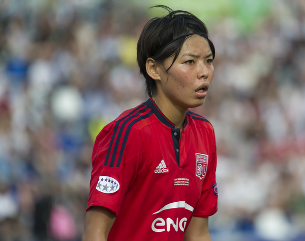 Saki Kumagai of Olympique Lyon in action during the UEFA Women's Champions League Final at Mapei Stadium, Reggio Emilia Picture by Anthony Stanley/Focus Images Ltd 07833 396363 26/05/2016