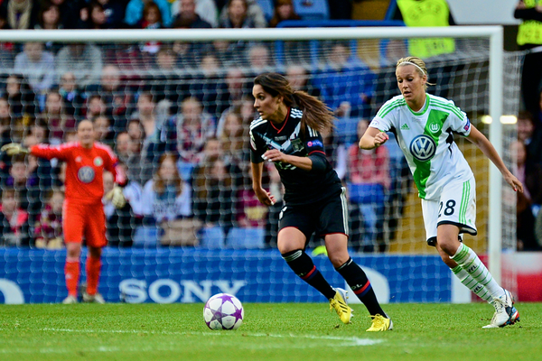 Picture by Ian Wadkins/Focus Images Ltd +44 7877 568959.23/05/2013.Louisa Necib of Olympique Lyonnais and Lena Goessling of Wolfsburg during the UEFA Women's Champions League match at Stamford Bridge, London.5.