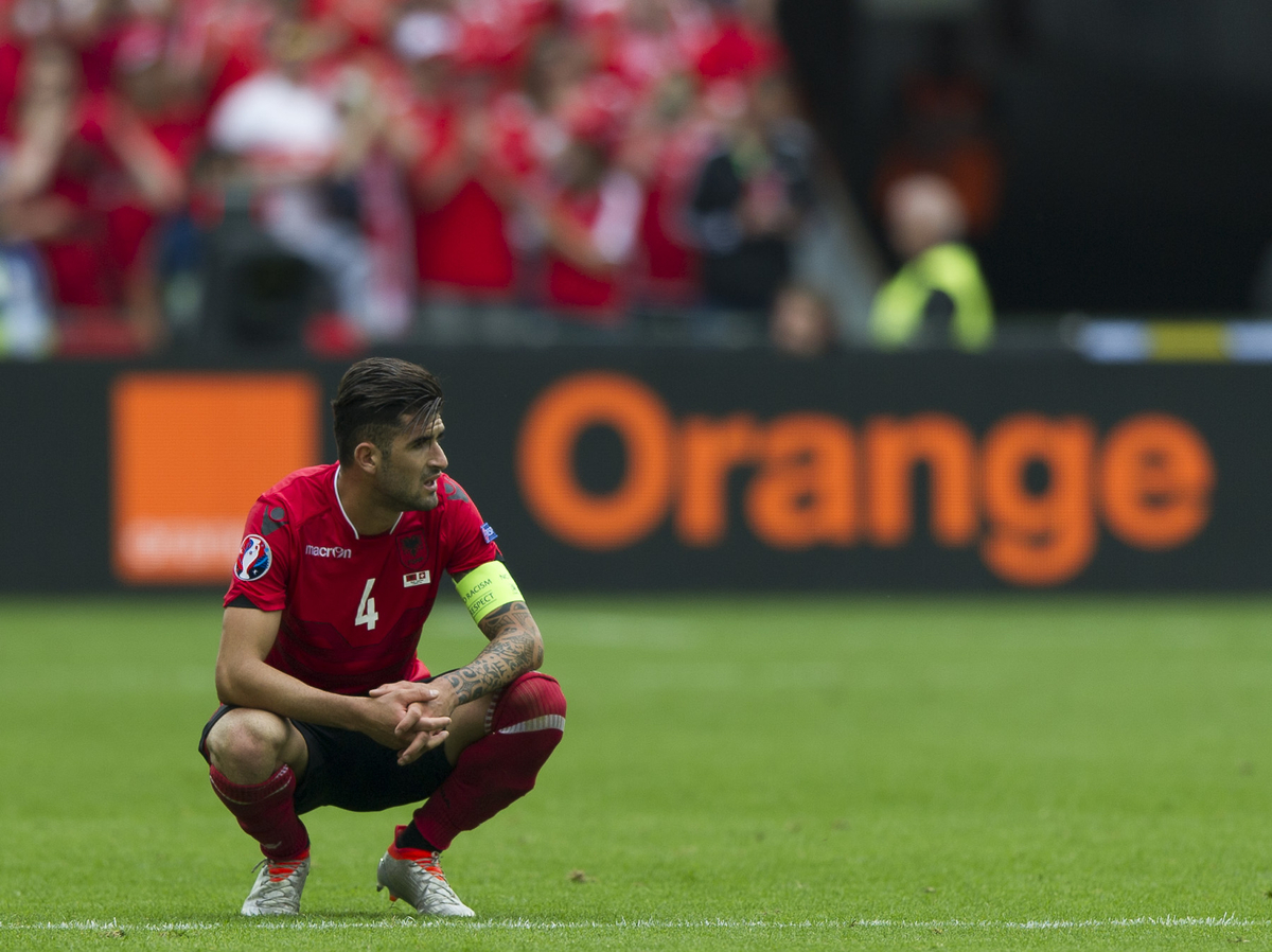 Elseid Hysaj of Albania and SSC Napoli is disappointed after the defeat at Stade Bollaert-Delelis , Lens Picture by Anthony Stanley/Focus Images Ltd 07833 396363 11/06/2016