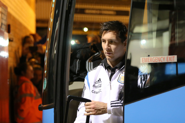Lionel Messi of Argentina arrives ahead of the International Friendly match against Portugal at Old Trafford, Manchester Picture by Richard Calver/Focus Images Ltd +447792 981244 18/11/2014