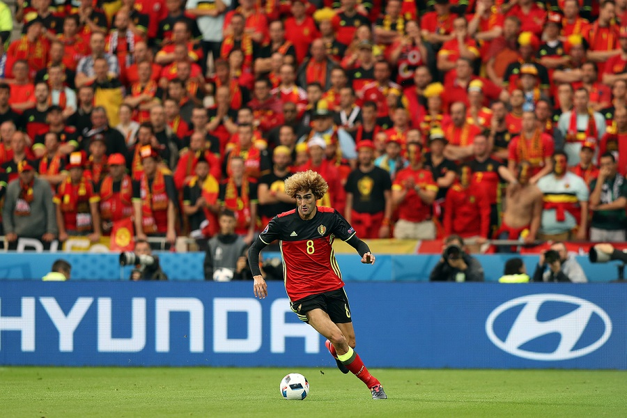 Marouane Fellaini of Belgium in action during the UEFA Euro 2016 match at Stade de Lyons, Lyons Picture by Paul Chesterton/Focus Images Ltd +44 7904 640267 13/06/2016