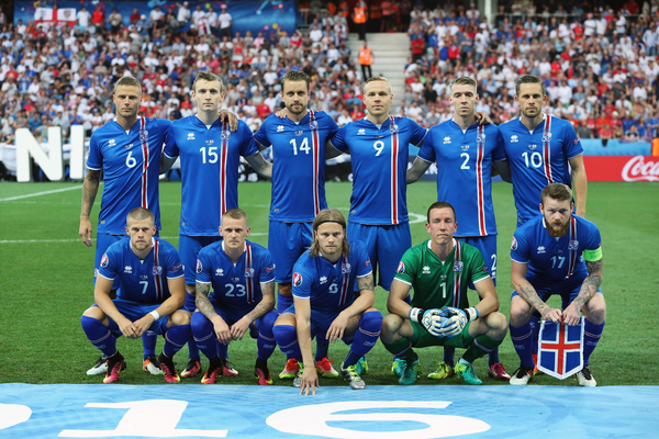 Iceland team line-up prior to the UEFA Euro 2016 match at Stade de Nice, Nice Picture by Paul Chesterton/Focus Images Ltd +44 7904 640267 27/06/2016