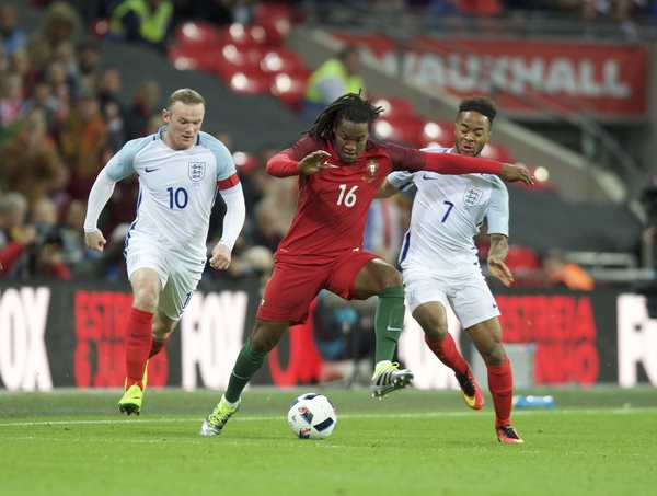 Renato Sanches of Portugal is put under pressure by Wayne Rooney of England (left) and Raheem Sterling of England during the International Friendly match at Wembley Stadium, London Picture by Alan Stanford/Focus Images Ltd +44 7915 056117 02/06/2016