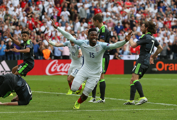 Daniel Sturridge of England celebrates scoring his sides second goal to make the scoreline 2-1 during the UEFA Euro 2016 match at Stade Bollaert-Delelis , Lens Picture by Paul Chesterton/Focus Images Ltd +44 7904 640267 16/06/2016