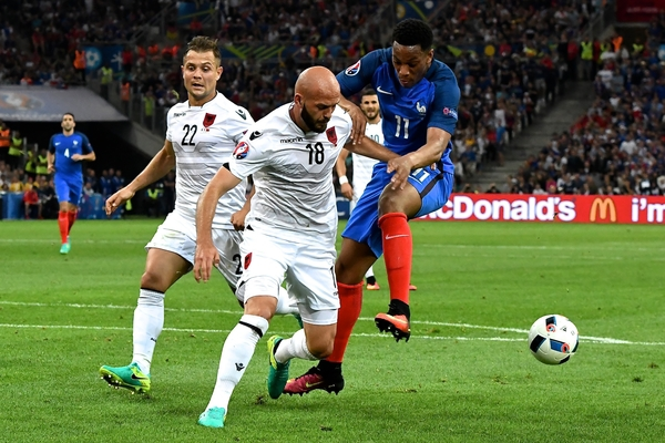 Arlind Ajeti of Albania (centre) blocks the shot by Anthony Martial of France during the UEFA Euro 2016 match at Stade Velodrome, Marseille Picture by Kristian Kane/Focus Images Ltd 07814482222 15/06/2016