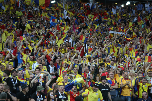 Fans of Romania go crazy after their team score an equaliser during the UEFA Euro 2016 match at Stade de France, Paris Picture by Paul Chesterton/Focus Images Ltd +44 7904 640267 10/06/2016
