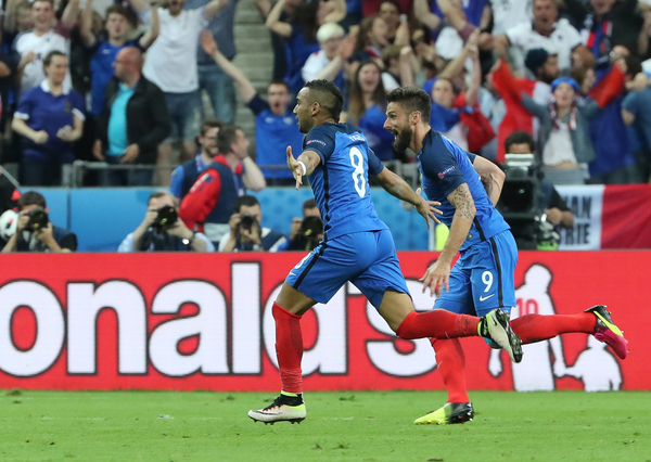 Dimitri Payet (left) of France celebrates scoring their second goal during the UEFA Euro 2016 match at Stade de France, Paris Picture by Paul Chesterton/Focus Images Ltd +44 7904 640267 10/06/2016
