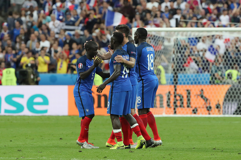 The French players celebrate victory at the end of the UEFA Euro 2016 match at Stade de France, Paris Picture by Paul Chesterton/Focus Images Ltd +44 7904 640267 10/06/2016