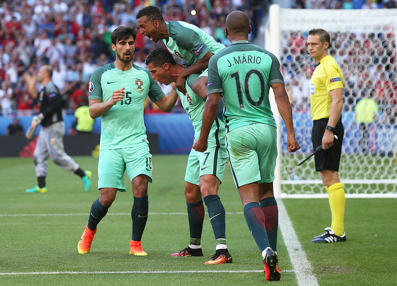 Cristiano Ronaldo of Portugal celebrates scoring his sides 2nd goal during the UEFA Euro 2016 match at Stade de Lyons, Lyons Picture by Paul Chesterton/Focus Images Ltd +44 7904 640267 22/06/2016