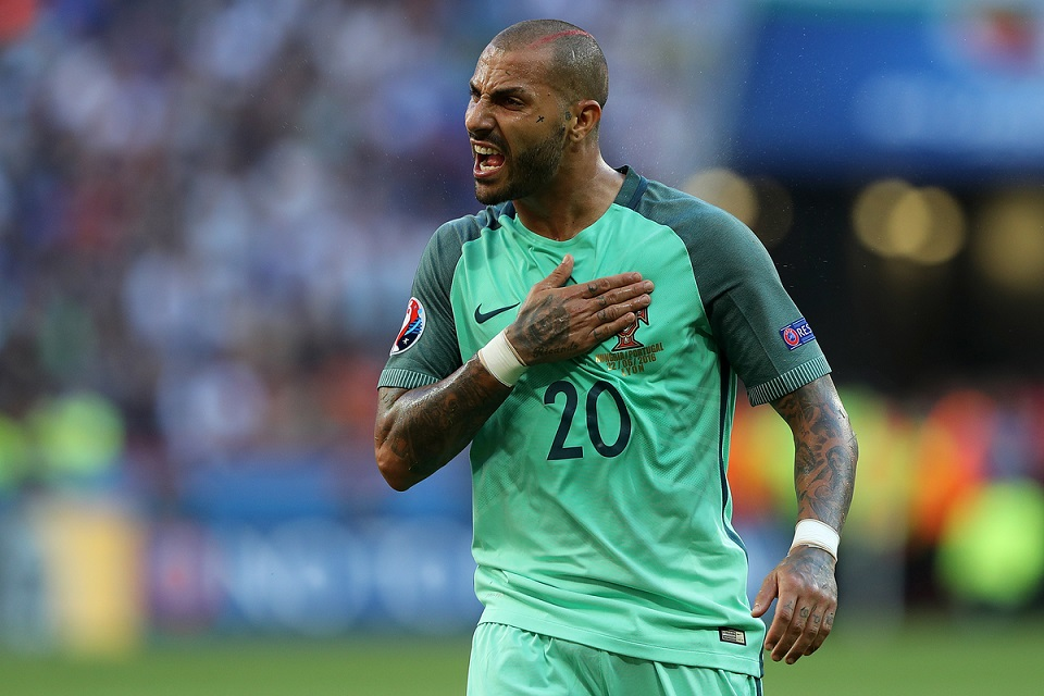 Ricardo Quaresma of Portugal tries to get the Portugal fans going aduring the UEFA Euro 2016 match at Stade de Lyons, Lyons Picture by Paul Chesterton/Focus Images Ltd +44 7904 640267 22/06/2016