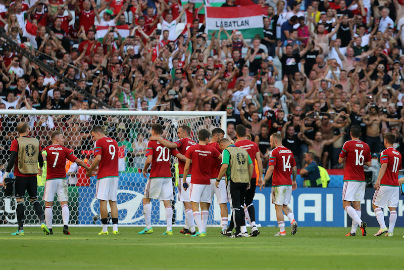 The Hungary players celebrate victory at the end of the UEFA Euro 2016 match at Stade de Lyons, Lyons Picture by Paul Chesterton/Focus Images Ltd +44 7904 640267 22/06/2016
