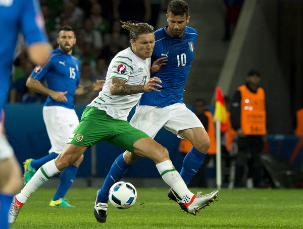Gianluigi Buffon of Italy tackles and Jeff Hendrick of Republic of Ireland in action during the UEFA Euro 2016 match at Stade Pierre-Mauroy, Lille Picture by Anthony Stanley/Focus Images Ltd 07833 396363 22/06/2016