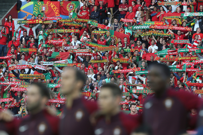 The Portugal players sing the National Anthem with a backdrop of their fans before the UEFA Euro 2016 match at Parc des Princes, Paris Picture by Paul Chesterton/Focus Images Ltd +44 7904 640267 18/06/2016