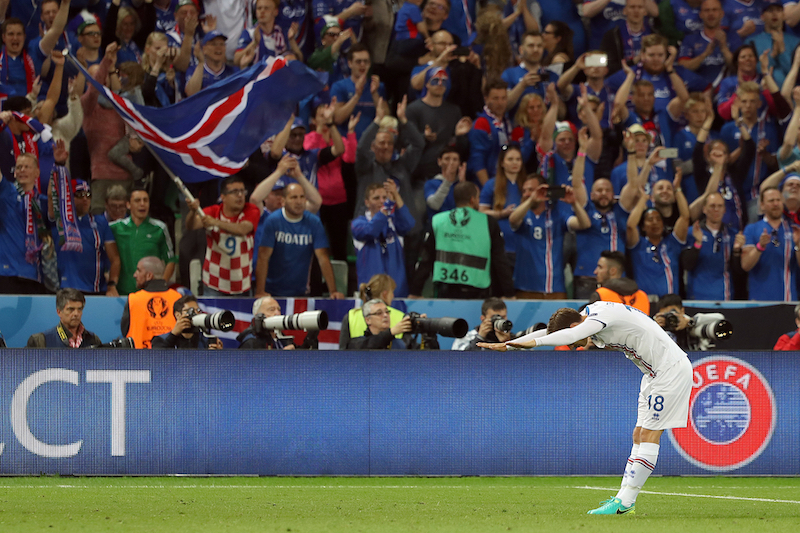 Elmar Bjarnason of Iceland celebrates with his fans at the end of the UEFA Euro 2016 match at Stade Geoffroy-Guichard, Saint-…tienne, France.  Picture by Paul Chesterton/Focus Images Ltd +44 7904 640267 14/06/2016