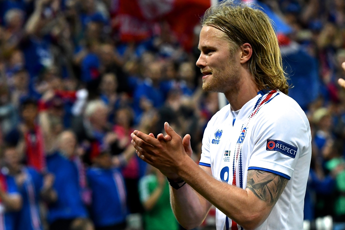 Birkir Bjarnason of Iceland celebrates following the UEFA Euro 2016 match at Stade Geoffroy-Guichard, Saint-Étienne, France Picture by Kristian Kane/Focus Images Ltd 07814482222 14/06/2016