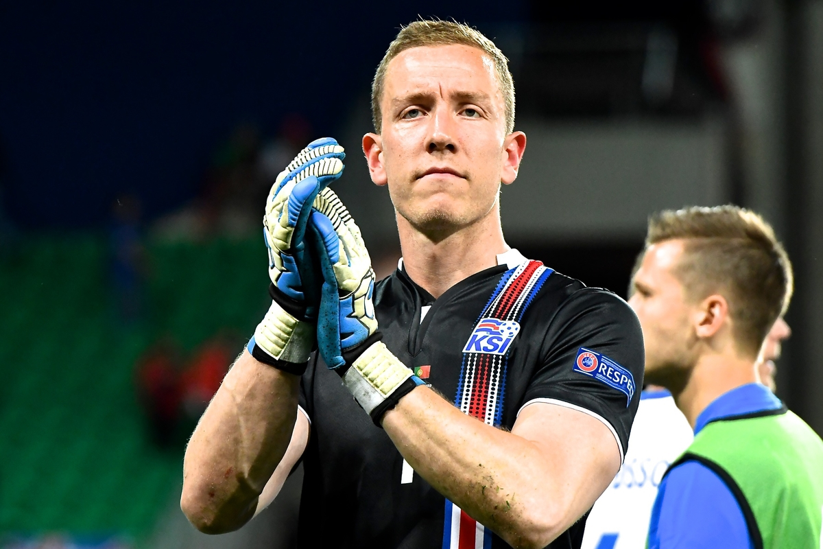 Iceland goalkeeper Hannes Halldórsson celebrates following the UEFA Euro 2016 match at Stade Geoffroy-Guichard, Saint-Étienne, France Picture by Kristian Kane/Focus Images Ltd 07814482222 14/06/2016
