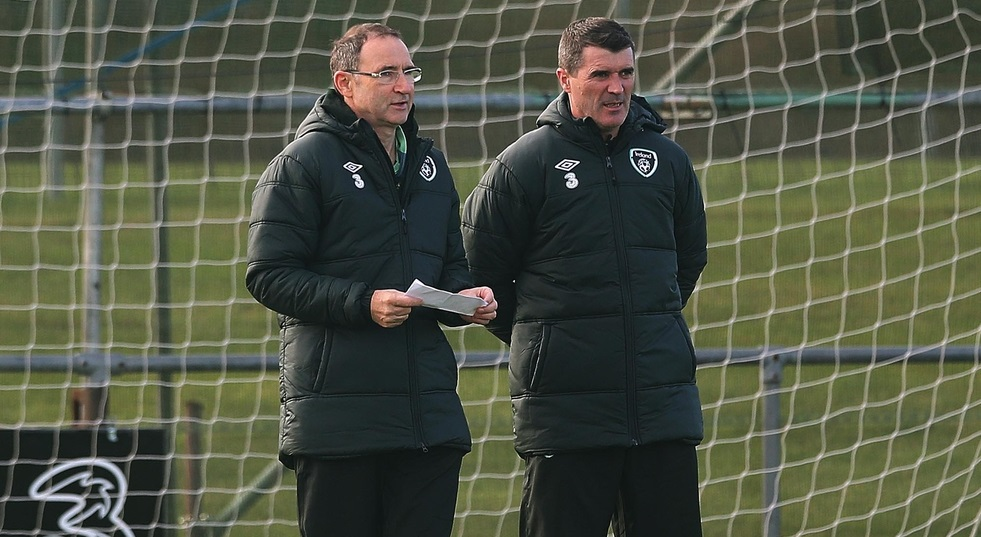 Picture by Lorraine O'Sullivan/Focus Images Ltd +353 872341234 13/11/2013 Martin O'Neill and Roy Keane of the Republic of Ireland pictured during training at Gannon Park, Malahide, Co. Dublin.