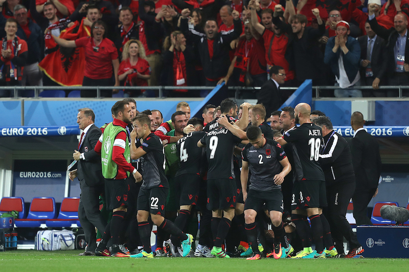 Armando Sadiku of Albania celebrates scoring his sides 1st goal during the UEFA Euro 2016 match at Stade de Lyons, Lyons Picture by Paul Chesterton/Focus Images Ltd +44 7904 640267 19/06/2016