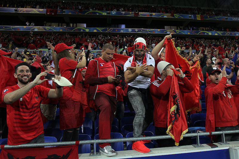 Albanian fans celebrate victory at the end of the UEFA Euro 2016 match at Stade de Lyons, Lyons Picture by Paul Chesterton/Focus Images Ltd +44 7904 640267 19/06/2016