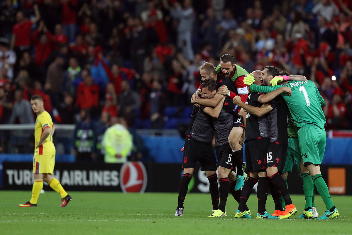 The Albanian players celebrate victory at the end of the UEFA Euro 2016 match at Stade de Lyons, Lyons Picture by Paul Chesterton/Focus Images Ltd +44 7904 640267 19/06/2016