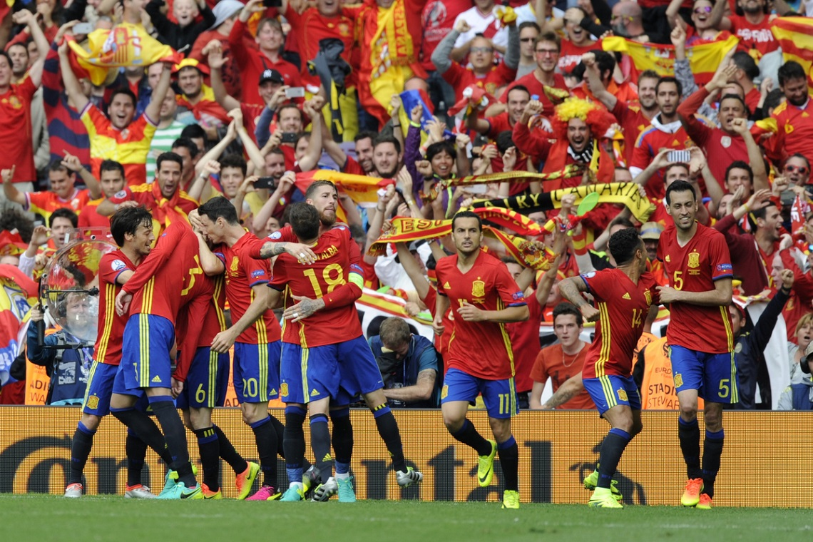Spain players celebrate their goal against Czech Republic during the UEFA Euro 2016 match at Stadium de Toulouse, Toulouse Picture by Ian Martinez/Focus Images Ltd +350 5400 0050 13/06/2016