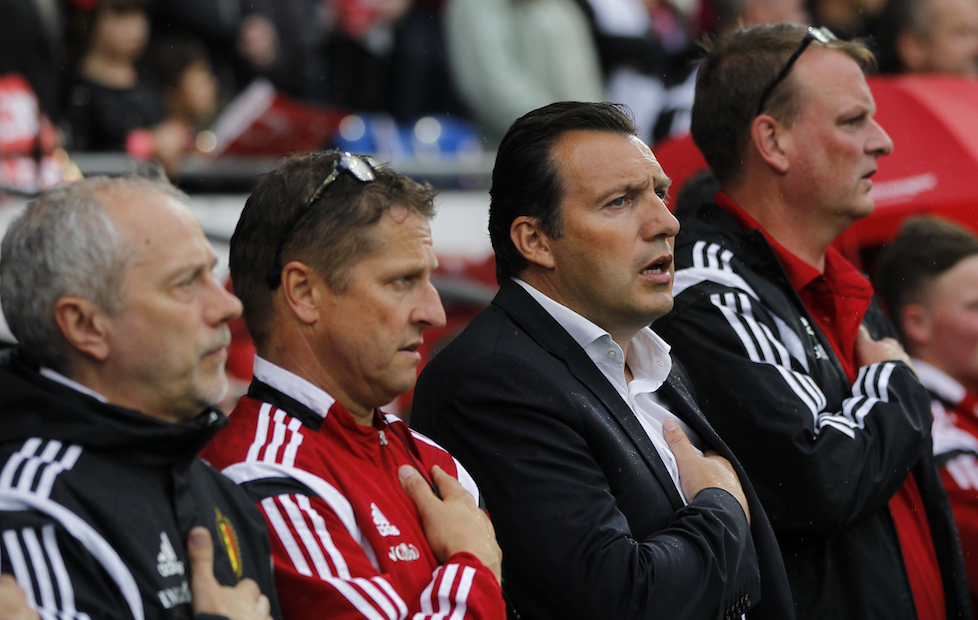 Marc Wilmots (3rd Right) of Belgium during the UEFA Euro 2016 Qualifying match at the Cardiff City Stadium, Cardiff Picture by Mike Griffiths/Focus Images Ltd +44 7766 223933 12/06/2015