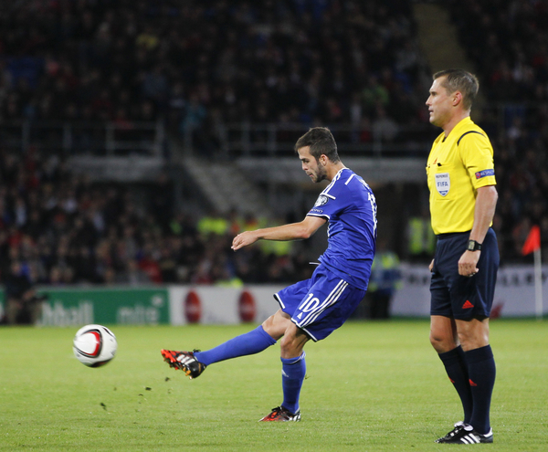 Miralem Pjanic of Bosnia and Herzegovina during the UEFA Euro 2016 Qualifying match at the Cardiff City Stadium, Cardiff Picture by Mike Griffiths/Focus Images Ltd +44 7766 223933 10/10/2014