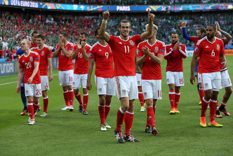 Gareth Bale of Wales and his teammates celebrate victory at the end of the UEFA Euro 2016 match at Parc des Princes, Paris Picture by Paul Chesterton/Focus Images Ltd +44 7904 640267 25/06/2016