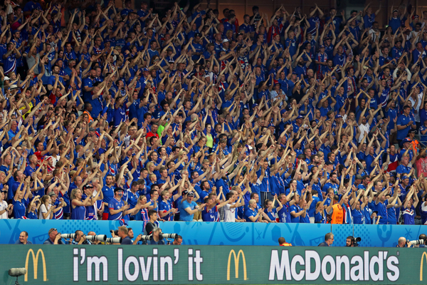 Iceland fans get behind their team with fantastic support during the UEFA Euro 2016 match at Stade de Nice, Nice Picture by Paul Chesterton/Focus Images Ltd +44 7904 640267 27/06/2016
