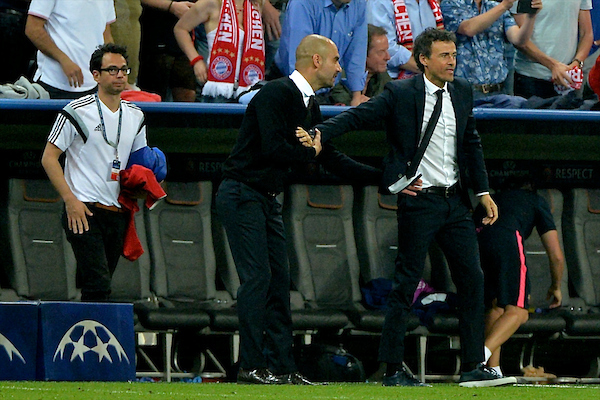 Bayern Munich manager Pep Guardiola (left) congratulates FC Barcelona manager Luis Enrique following the UEFA Champions League semi-final match at Allianz Arena, Munich Picture by Ian Wadkins/Focus Images Ltd +44 7877 568959 12/05/2015