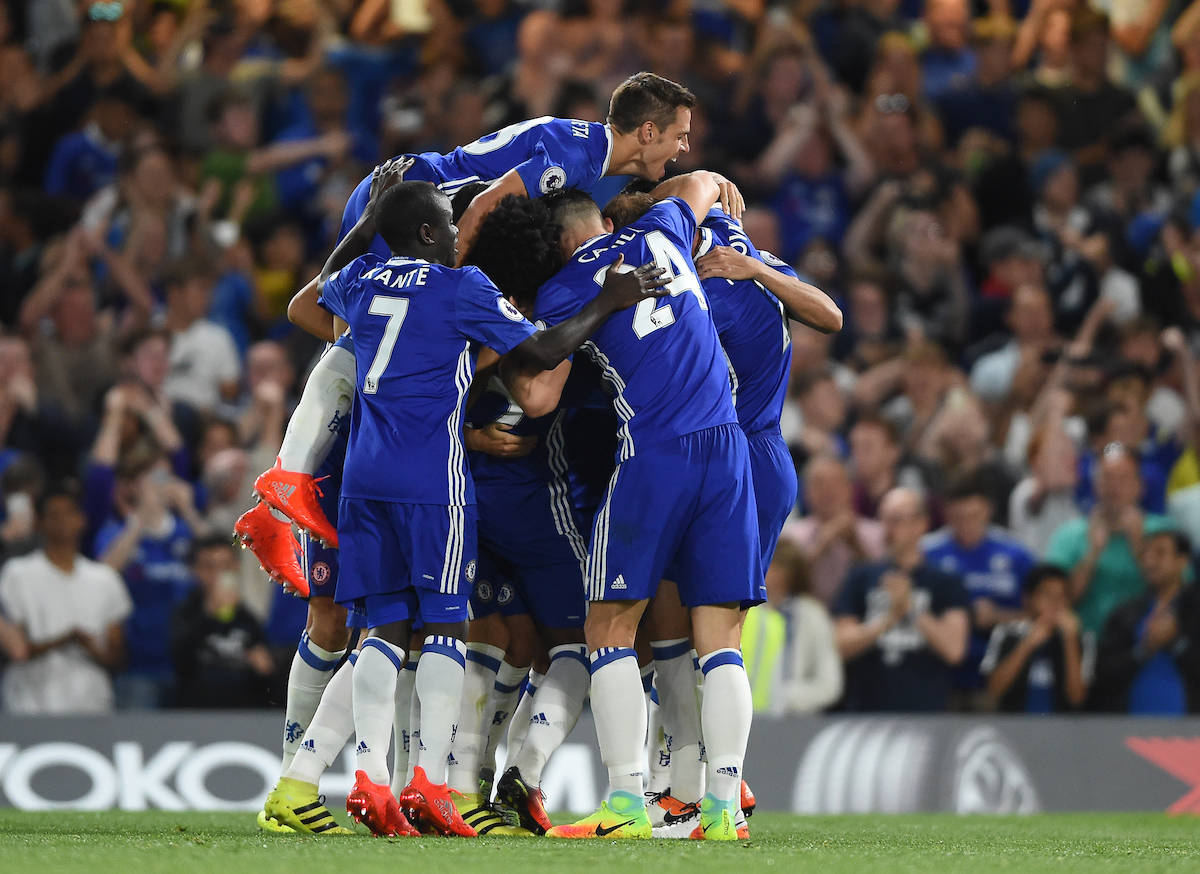 Chelsea's Eden Hazard celebrates scoring their first goal from the penalty spot with team mates during the Premier League match at Stamford Bridge, London Picture by Daniel Hambury/Focus Images Ltd +44 7813 022858 15/08/2016