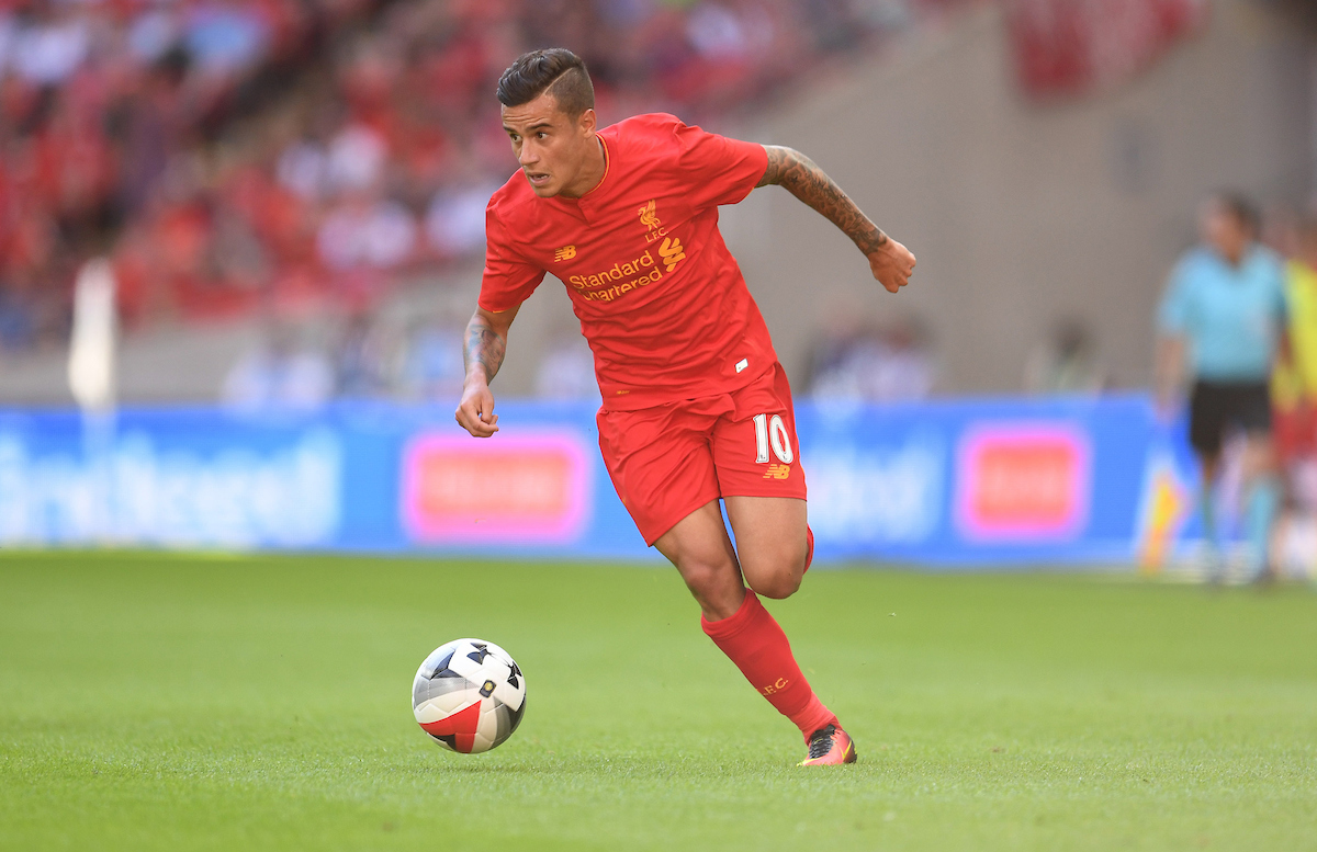 Philippe Coutinho of Liverpool during the International Champions Cup match against FC Barcelona at Wembley Stadium, London Picture by Andrew Timms/Focus Images Ltd +44 7917 236526 06/08/2016