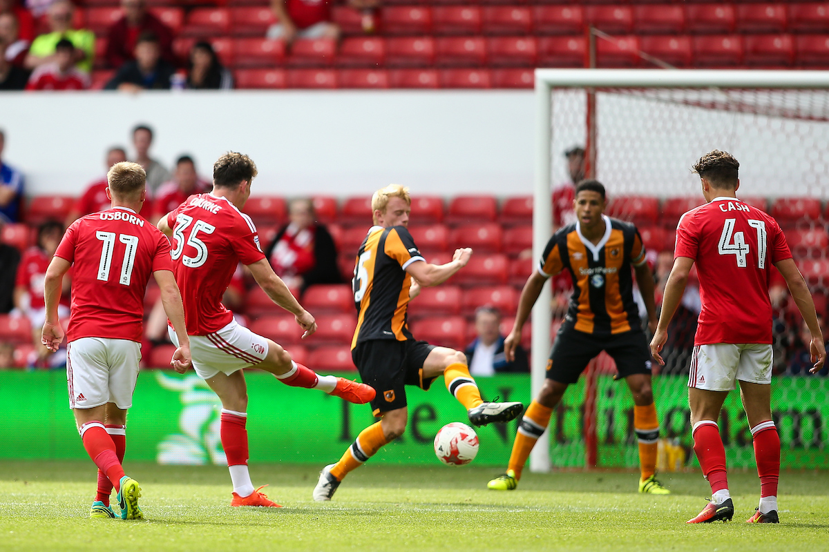 Oliver Burke of Nottingham Forest (2nd left) scores a goal during the pre-season match at the City Ground, Nottingham Picture by Andy Kearns/Focus Images Ltd 0781 864 4264 30/07/2016