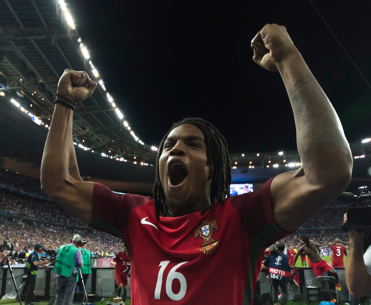 Renato Sanches pictured celebrating after the UEFA Euro 2016 Final at Stade de France, Paris Picture by Anthony Stanley/Focus Images Ltd 07833 396363 10/07/2016