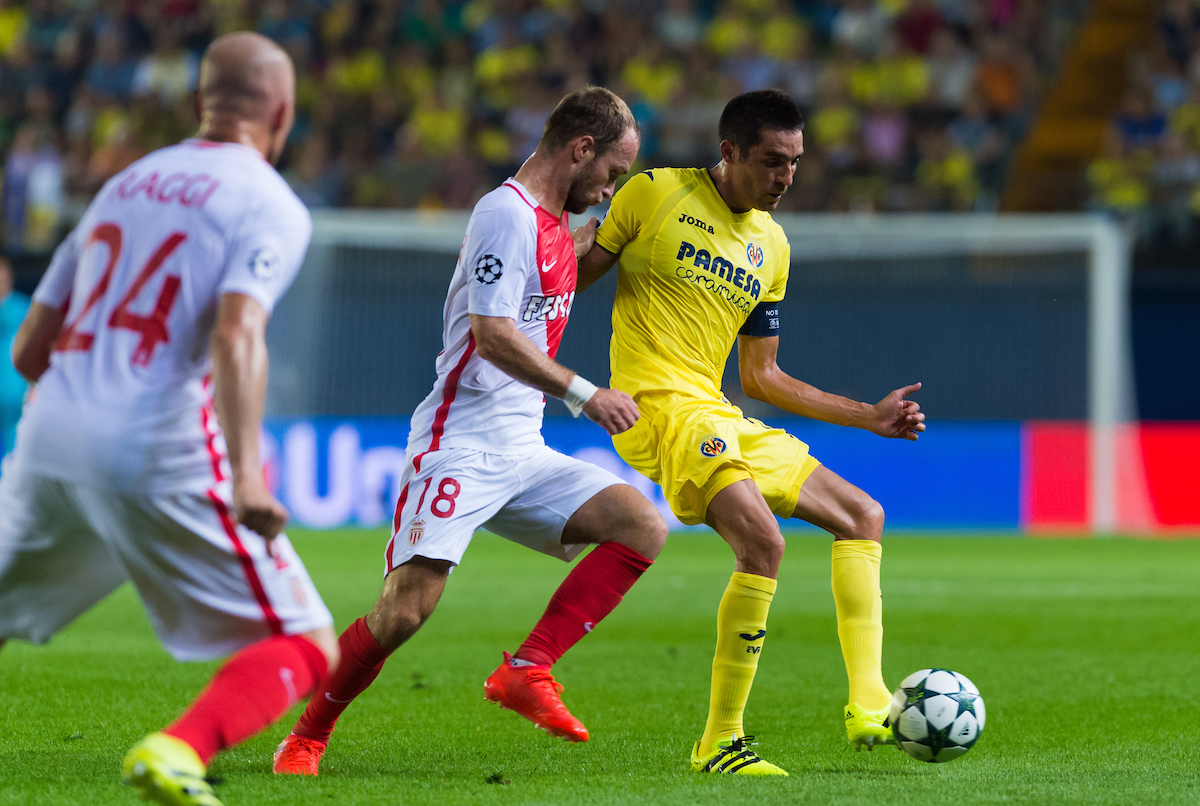Bruno Soriano of Villarreal CF and Valere Germain of AS Monaco FC during the UEFA Champions League qualifying play-off match at Estadio El Madrigal, Villarreal Picture by Maria Jose Segovia/Focus Images Ltd +34 660052291 17/08/2016