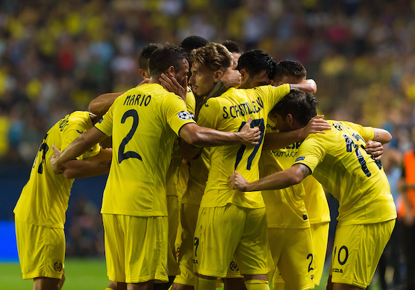Alexandre Pato of Villarreal CF celebrates his goal  during the UEFA Champions League qualifying play-off match at Estadio El Madrigal, Villarreal Picture by Maria Jose Segovia/Focus Images Ltd +34 660052291 17/08/2016
