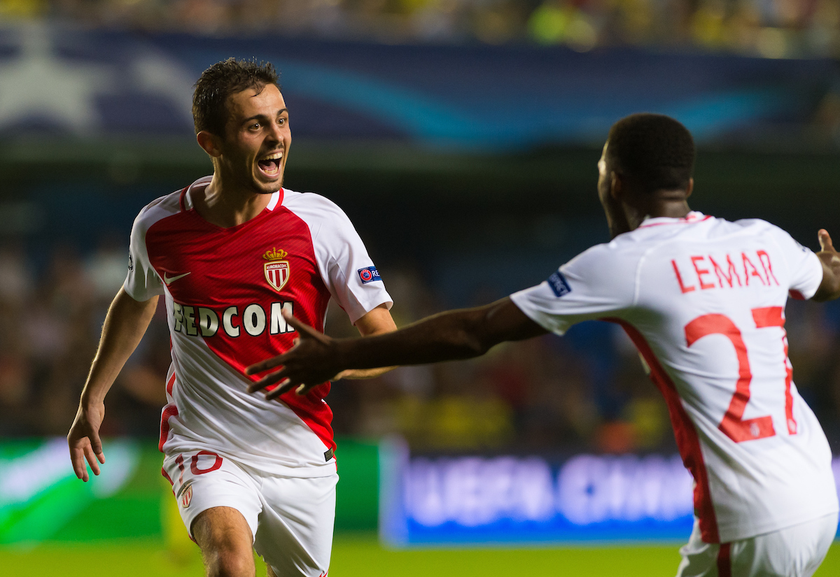 Bernardo Silva of AS Monaco FC celebrates his goal with Thomas Lemar during the UEFA Champions League qualifying play-off match at Estadio El Madrigal, Villarreal Picture by Maria Jose Segovia/Focus Images Ltd +34 660052291 17/08/2016