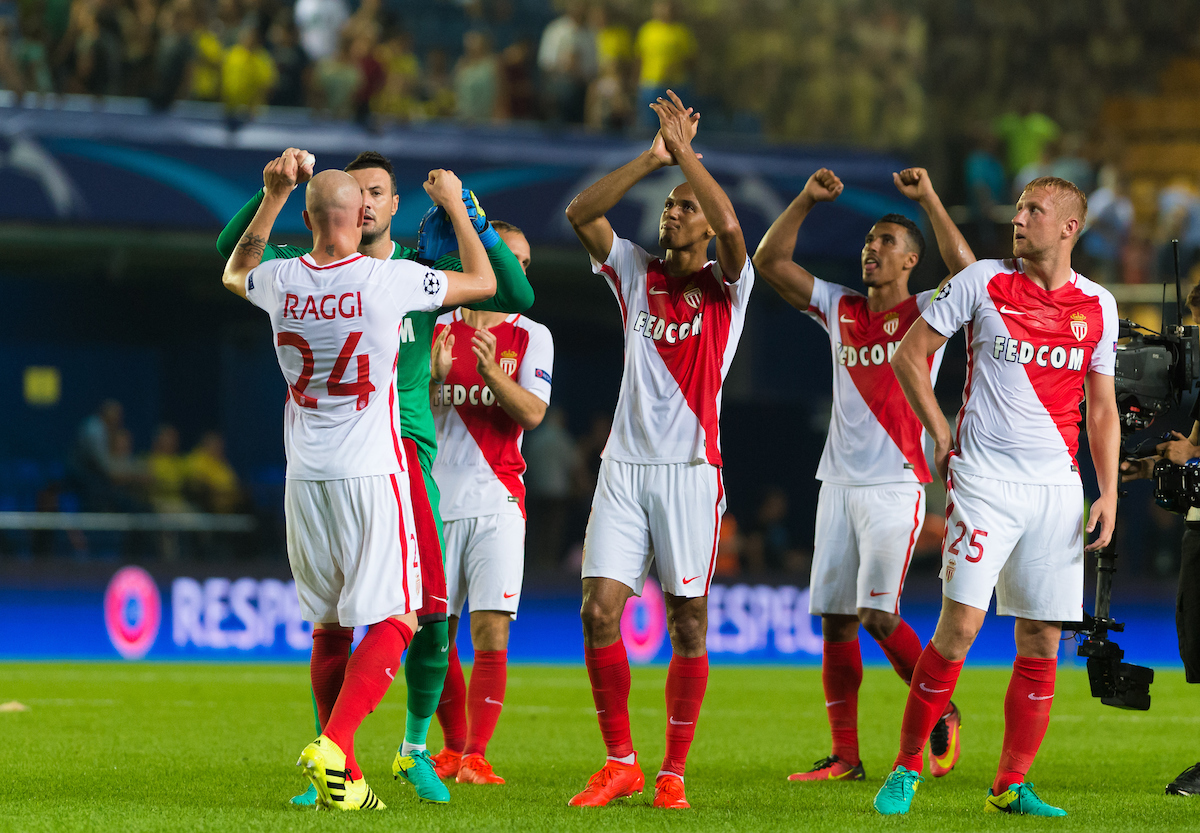 AS Monaco FC players celebrate their victory after the UEFA Champions League qualifying play-off match at Estadio El Madrigal, Villarreal Picture by Maria Jose Segovia/Focus Images Ltd +34 660052291 17/08/2016