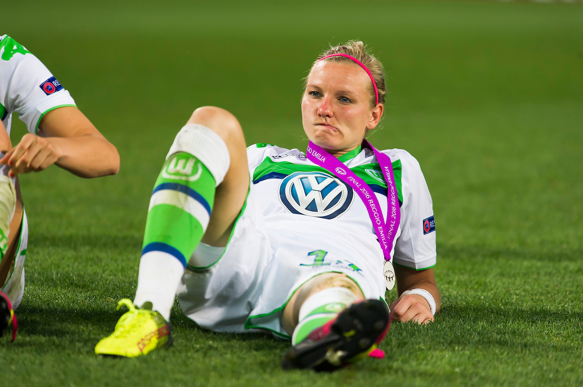 Alexandra Popp of Wolfsburg is distraught as Olympique Lyon celebrate winning the UEFA Women's Champions League Final at Mapei Stadium, Reggio Emilia Picture by Anthony Stanley/Focus Images Ltd 07833 396363 26/05/2016