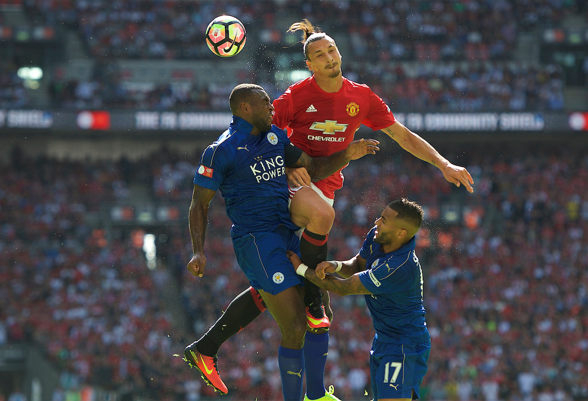 Zlatan Ibrahimovic Wes Morgan Danny Simpson Manchester United Leicester City Focus