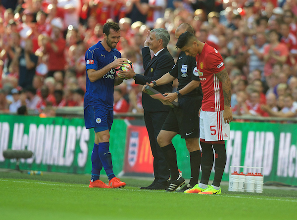 Christian Fuchs of Leicester City is given the ball by Manager Jose Mourinho of Manchester United during the FA Community Shield match at Wembley Stadium, London Picture by Alan Stanford/Focus Images Ltd +44 7915 056117 07/08/2016