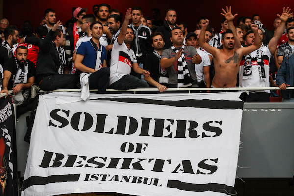 Besiktas J.K. fans before the UEFA Champions League match at the Emirates Stadium, London Picture by David Horn/Focus Images Ltd +44 7545 970036 27/08/2014