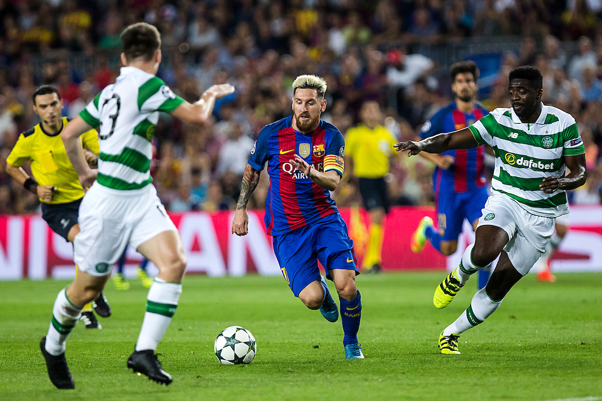 Messi of FC Barcelona and Toure and Tierney of Celtic during the UEFA Champions League match at Camp Nou, Barcelona Picture by Luis Tato/Focus Images Ltd (+34) 661 459 33 13/09/2016