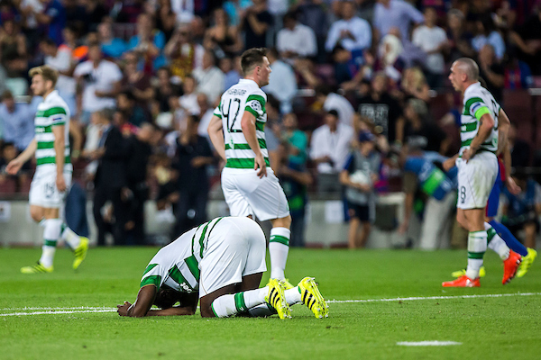 Kolo Toure of Celtic reacts after a goal of FC Barcelona during the UEFA Champions League match at Camp Nou, Barcelona Picture by Luis Tato/Focus Images Ltd (+34) 661 459 33 13/09/2016